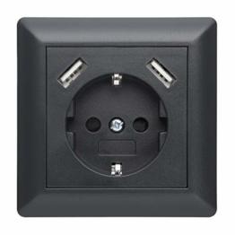 230 V Steckdose mit 2 x USB Ladegeräten, Schuko Wandsteckdose Unterputz, passend für Gira System 55 E2, Anthrazit (Grau), TÜV Rheinland zertifiziert (Einfachsteckdose) - 1
