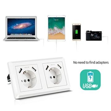Doppelsteckdose mit 4 USB Reinweiß, Kaifire Schuko USB Steckdose System 55x55mm wandsteckdose unterputz Passt in Standard 2-fach Unterputzdose, Ladegerät für Smartphone Tablet MP3 - 2