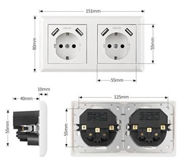 Doppelsteckdose mit 4 USB Reinweiß, Kaifire Schuko USB Steckdose System 55x55mm wandsteckdose unterputz Passt in Standard 2-fach Unterputzdose, Ladegerät für Smartphone Tablet MP3 - 4