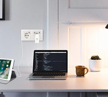 Doppelsteckdose mit 4 USB Reinweiß, Kaifire Schuko USB Steckdose System 55x55mm wandsteckdose unterputz Passt in Standard 2-fach Unterputzdose, Ladegerät für Smartphone Tablet MP3 - 7