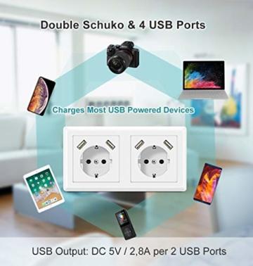 Doppelsteckdose mit USB Anschluss, Schutzkontakt Schuko Unterputz USB Steckdose Weiß System 55X55 Passt in Standard 2-fach Unterputzdose Wandsteckdose für Smartphone Tablette - 3