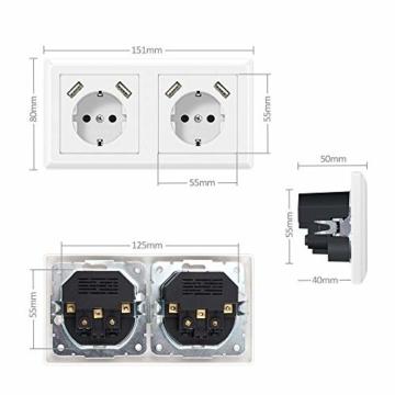 Doppelsteckdose mit USB Anschluss, Schutzkontakt Schuko Unterputz USB Steckdose Weiß System 55X55 Passt in Standard 2-fach Unterputzdose Wandsteckdose für Smartphone Tablette - 4