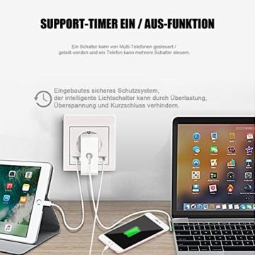 Intelligente Schuko Steckdose mit 2 X USB, Teepao Smart WLAN Steckdose (DE) Funktioniert mit IOS und Android Smartphones, mit Amazon Alexa Echo/Echo Dot/Google Home - 2