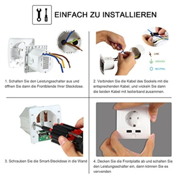 Intelligente Schuko Steckdose mit 2 X USB, Teepao Smart WLAN Steckdose (DE) Funktioniert mit IOS und Android Smartphones, mit Amazon Alexa Echo/Echo Dot/Google Home - 5