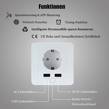 Intelligente Schuko Steckdose mit 2 X USB, Teepao Smart WLAN Steckdose (DE) Funktioniert mit IOS und Android Smartphones, mit Amazon Alexa Echo/Echo Dot/Google Home - 7