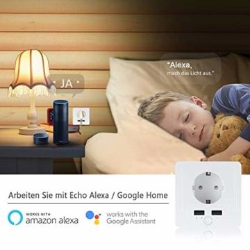 Intelligente Schuko Steckdose mit 2 X USB, Teepao Smart WLAN Steckdose (DE) Funktioniert mit IOS und Android Smartphones, mit Amazon Alexa Echo/Echo Dot/Google Home - 9