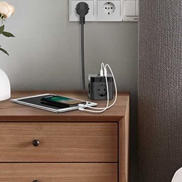 JSVER Steckdosenleiste Würfel USB, Mehrfachsteckdose Cube überspannungsschutz 3 Fach mit 3 USB (15.5W) Steckdosen mit Schalter für Büro, zu Hause oder auf Reisen 1.5m Kabel (Schwarz) - 2