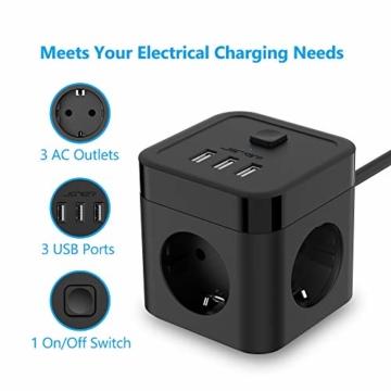JSVER Steckdosenleiste Würfel USB, Mehrfachsteckdose Cube überspannungsschutz 3 Fach mit 3 USB (15.5W) Steckdosen mit Schalter für Büro, zu Hause oder auf Reisen 1.5m Kabel (Schwarz) - 5