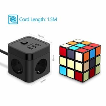 JSVER Steckdosenleiste Würfel USB, Mehrfachsteckdose Cube überspannungsschutz 3 Fach mit 3 USB (15.5W) Steckdosen mit Schalter für Büro, zu Hause oder auf Reisen 1.5m Kabel (Schwarz) - 6