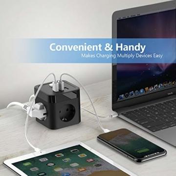 JSVER Steckdosenleiste Würfel USB, Mehrfachsteckdose Cube überspannungsschutz 3 Fach mit 3 USB (15.5W) Steckdosen mit Schalter für Büro, zu Hause oder auf Reisen 1.5m Kabel (Schwarz) - 7