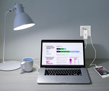 Steckdose mit USB Anschluss (Max. 2.8A) Schutzkontakt Schuko Wandsteckdose Unterputz System 55 Reinweiß Glänzend Weiß für Smartphone,Tablet etc. - 2