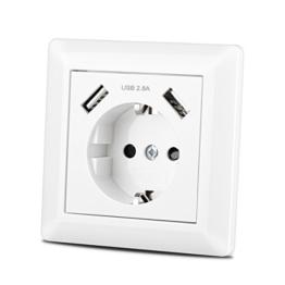Steckdose mit USB Anschluss (Max. 2.8A) Schutzkontakt Schuko Wandsteckdose Unterputz System 55 Reinweiß Glänzend Weiß für Smartphone,Tablet etc. - 1