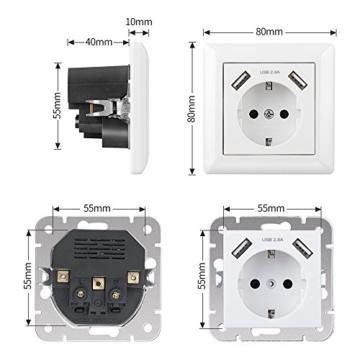 Steckdose mit USB Anschluss (Max. 2.8A) Schutzkontakt Schuko Wandsteckdose Unterputz System 55 Reinweiß Glänzend Weiß für Smartphone,Tablet etc. - 5