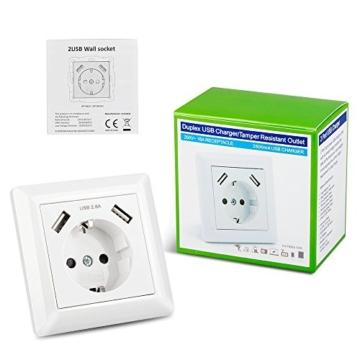 Steckdose mit USB Anschluss (Max. 2.8A) Schutzkontakt Schuko Wandsteckdose Unterputz System 55 Reinweiß Glänzend Weiß für Smartphone,Tablet etc. - 7