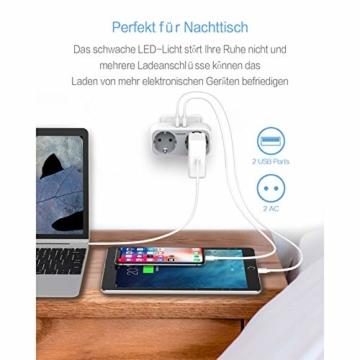 TESSAN USB Steckdose, 2 Steckdosen mit 2 USB Anschluss (2.4A), 4 in 1 Steckdosenadapter mit USB Ladegerät, Doppelstecker mit Intelligent USB Stecker kompatibel für Phone Laptop - 2
