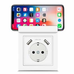 USB Steckdose System 55 mit Handyhalter, Kaifire 55X55 Schuko Steckdose mit 2 USB Ladegerät 2.8A Wandsteckdose Unterputz Reinweiß - Laden Smartphone Tablet - 1