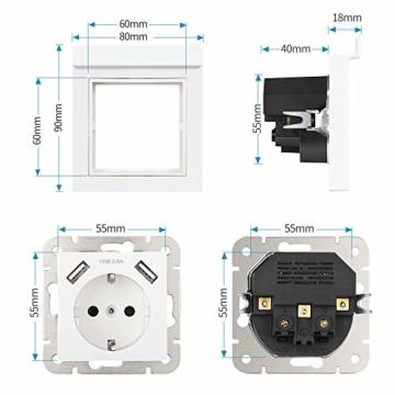 USB Steckdose System 55 mit Handyhalter, Kaifire 55X55 Schuko Steckdose mit 2 USB Ladegerät 2.8A Wandsteckdose Unterputz Reinweiß - Laden Smartphone Tablet - 4