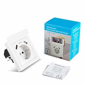 USB Steckdose System 55 mit Handyhalter, Kaifire 55X55 Schuko Steckdose mit 2 USB Ladegerät 2.8A Wandsteckdose Unterputz Reinweiß - Laden Smartphone Tablet - 5