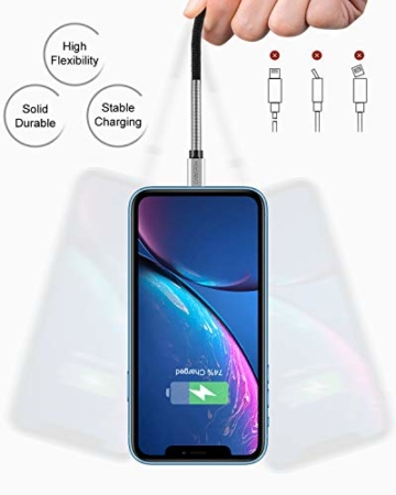 2Pack 2M iPhone Ladekabel, [ MFi Certified ] Fortgeschritten Frühling Lang Lightning Kabel 6ft, Schnellladung USB Ladekabel für iPhone 11/XS/XSMax/XR/X/8/8 Plus/7/7Plus/ 6s/6/6Plus/5S/5, iPad. - 3