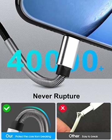 2Pack 2M iPhone Ladekabel, [ MFi Certified ] Fortgeschritten Frühling Lang Lightning Kabel 6ft, Schnellladung USB Ladekabel für iPhone 11/XS/XSMax/XR/X/8/8 Plus/7/7Plus/ 6s/6/6Plus/5S/5, iPad. - 4