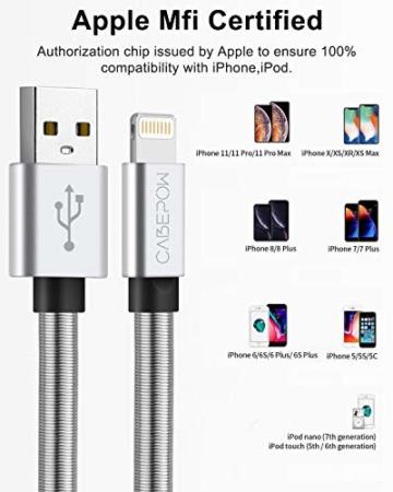 2Pack 2M iPhone Ladekabel, [ MFi Certified ] Fortgeschritten Frühling Lang Lightning Kabel 6ft, Schnellladung USB Ladekabel für iPhone 11/XS/XSMax/XR/X/8/8 Plus/7/7Plus/ 6s/6/6Plus/5S/5, iPad. - 5