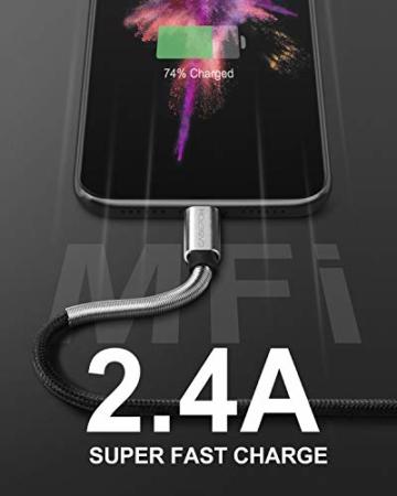 2Pack 2M iPhone Ladekabel, [ MFi Certified ] Fortgeschritten Frühling Lang Lightning Kabel 6ft, Schnellladung USB Ladekabel für iPhone 11/XS/XSMax/XR/X/8/8 Plus/7/7Plus/ 6s/6/6Plus/5S/5, iPad. - 7