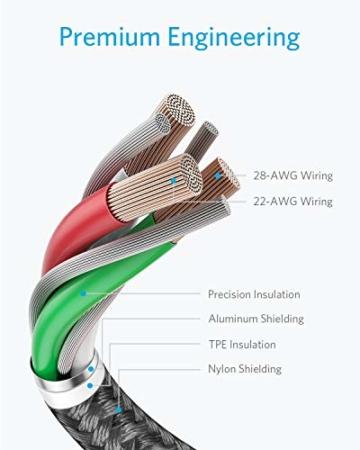 Anker iPhone Ladekabel, Lightning Kabel 1.8m 2 Pack doppelt geflochtenes Premium Nylon Lightning Kabel,[MFi Zertifiziert] für iPhone XS/XS Max/XR/X/8/8 Plus/7/7 Plus/6, iPad und weitere (Schwarz) - 2