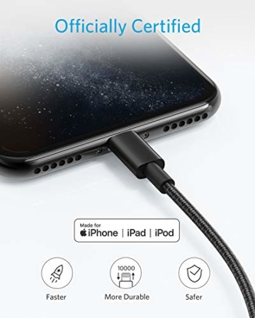 Anker iPhone Ladekabel, Lightning Kabel 1.8m 2 Pack doppelt geflochtenes Premium Nylon Lightning Kabel,[MFi Zertifiziert] für iPhone XS/XS Max/XR/X/8/8 Plus/7/7 Plus/6, iPad und weitere (Schwarz) - 4