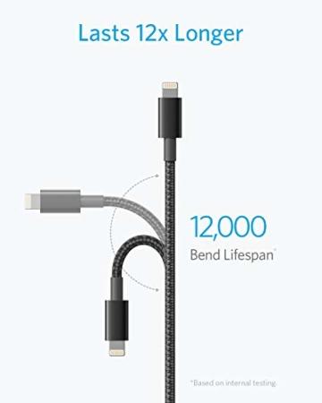 Anker iPhone Ladekabel, Lightning Kabel 1.8m 2 Pack doppelt geflochtenes Premium Nylon Lightning Kabel,[MFi Zertifiziert] für iPhone XS/XS Max/XR/X/8/8 Plus/7/7 Plus/6, iPad und weitere (Schwarz) - 5