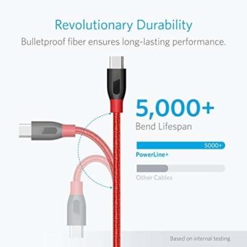 Anker PowerLine+ 90cm USB C Kabel auf USB 3.0 A, lebenslange Garantie, sehr Beständig für USB Typ-C Geräte Inklusive Galaxy S8, S8+,S9,S10, MacBook, Sony XZ, LG V20 G5 G6, HTC 10, Xiaomi 5 usw.(Rot) - 3