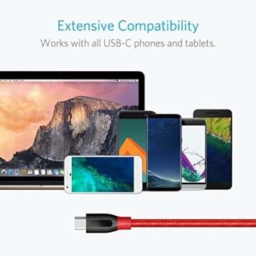 Anker PowerLine+ 90cm USB C Kabel auf USB 3.0 A, lebenslange Garantie, sehr Beständig für USB Typ-C Geräte Inklusive Galaxy S8, S8+,S9,S10, MacBook, Sony XZ, LG V20 G5 G6, HTC 10, Xiaomi 5 usw.(Rot) - 4