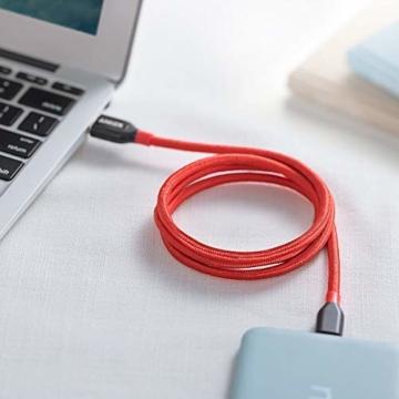 Anker PowerLine+ 90cm USB C Kabel auf USB 3.0 A, lebenslange Garantie, sehr Beständig für USB Typ-C Geräte Inklusive Galaxy S8, S8+,S9,S10, MacBook, Sony XZ, LG V20 G5 G6, HTC 10, Xiaomi 5 usw.(Rot) - 5