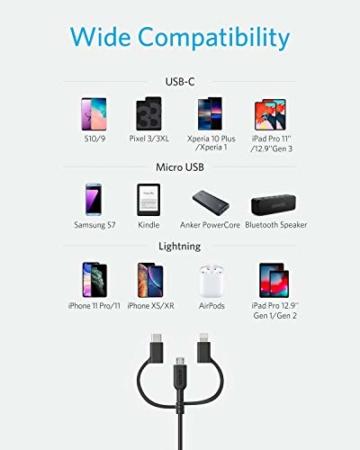 Anker Powerline II 3-in-1 Kabel, 0.9m langes Lightning/USB-C/Mikro-USB Kabel, für iPhone, iPad, LG, Galaxy, Xperia, Android Handys und viele mehr (Schwarz) - 3