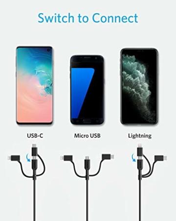 Anker Powerline II 3-in-1 Kabel, 0.9m langes Lightning/USB-C/Mikro-USB Kabel, für iPhone, iPad, LG, Galaxy, Xperia, Android Handys und viele mehr (Schwarz) - 4