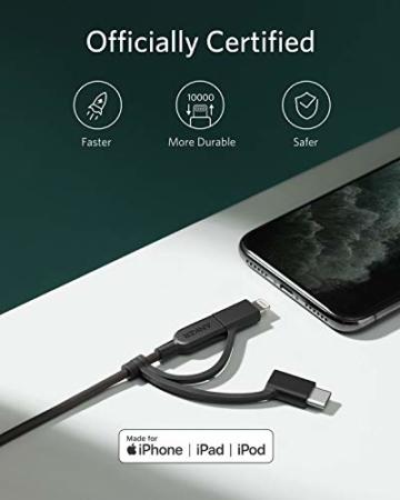 Anker Powerline II 3-in-1 Kabel, 0.9m langes Lightning/USB-C/Mikro-USB Kabel, für iPhone, iPad, LG, Galaxy, Xperia, Android Handys und viele mehr (Schwarz) - 5
