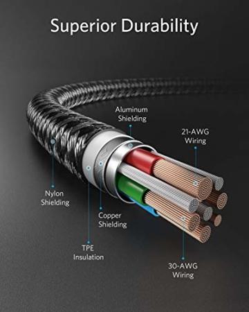 Anker Powerline+ II USB C auf Lightning Kabel, 90cm lang, Nylon-umflochtenes Ladekabel für iPhone SE/11/11 Pro/11 Pro max/X/XS/XR/XS Max / 8, unterstützt Power Delivery,für Typ-C Ladegeräte (Schwarz) - 2