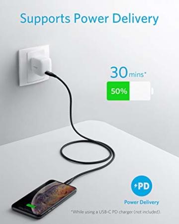 Anker Powerline+ II USB C auf Lightning Kabel, 90cm lang, Nylon-umflochtenes Ladekabel für iPhone SE/11/11 Pro/11 Pro max/X/XS/XR/XS Max / 8, unterstützt Power Delivery,für Typ-C Ladegeräte (Schwarz) - 3