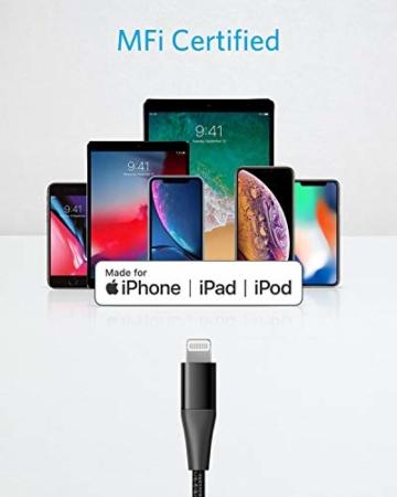 Anker Powerline+ II USB C auf Lightning Kabel, 90cm lang, Nylon-umflochtenes Ladekabel für iPhone SE/11/11 Pro/11 Pro max/X/XS/XR/XS Max / 8, unterstützt Power Delivery,für Typ-C Ladegeräte (Schwarz) - 6