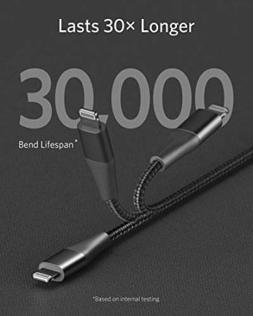 Anker Powerline+ II USB C auf Lightning Kabel, 90cm lang, Nylon-umflochtenes Ladekabel für iPhone SE/11/11 Pro/11 Pro max/X/XS/XR/XS Max / 8, unterstützt Power Delivery,für Typ-C Ladegeräte (Schwarz) - 7