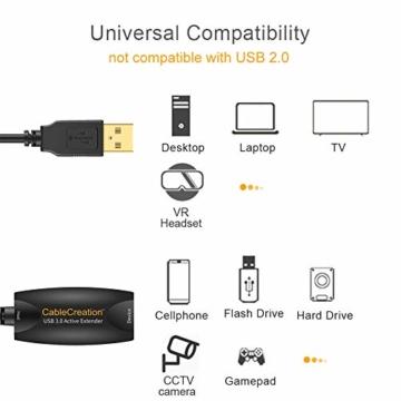 CableCreation USB 3.0 Aktiv Verlängerungskabel, 5m USB Stecker auf Buchse Kabel mit Signalverstärkung Kompatibel mit Oculus Rift/Quest/Link, HTC Vive, Valve Index VR, Xbox one, Drucker usw, Schwarz - 7