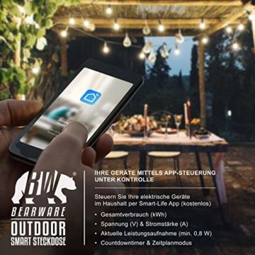 CSL - Wlan Outdoor Steckdose - für den Außenbereich - WiFi Smart Socket schaltbar - kompatibel mit Android Apple iOS Smartphone Tablet PC - Amazon Alexa Google Home - 4