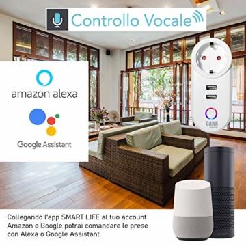 Intelligente WiFi-Steckdose, 16 A, 2 Stück, USB-Steckdose, Smart Plug mit 2 USB-Anschlüssen, WiFi-Schalter, kompatibel mit Alexa Amazon, Google Home, APP-Steuerung, GARR Solution - 2