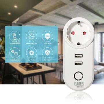 Intelligente WiFi-Steckdose, 16 A, 2 Stück, USB-Steckdose, Smart Plug mit 2 USB-Anschlüssen, WiFi-Schalter, kompatibel mit Alexa Amazon, Google Home, APP-Steuerung, GARR Solution - 5