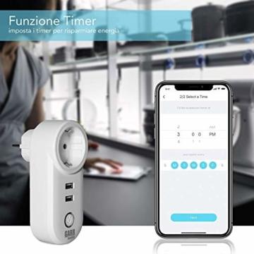 Intelligente WiFi-Steckdose, 16 A, 2 Stück, USB-Steckdose, Smart Plug mit 2 USB-Anschlüssen, WiFi-Schalter, kompatibel mit Alexa Amazon, Google Home, APP-Steuerung, GARR Solution - 6