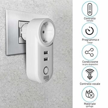 Intelligente WiFi-Steckdose, 16 A, 2 Stück, USB-Steckdose, Smart Plug mit 2 USB-Anschlüssen, WiFi-Schalter, kompatibel mit Alexa Amazon, Google Home, APP-Steuerung, GARR Solution - 8