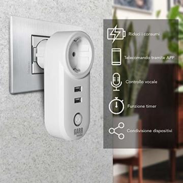 Intelligente WiFi-Steckdose, 16 A, 2 Stück, USB-Steckdose, Smart Plug mit 2 USB-Anschlüssen, WiFi-Schalter, kompatibel mit Alexa Amazon, Google Home, APP-Steuerung, GARR Solution - 9