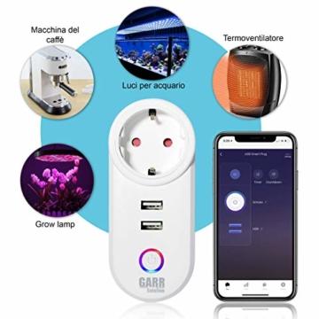 Intelligente WiFi-Steckdose, 16 A, 2 Stück, USB-Steckdose, Smart Plug mit 2 USB-Anschlüssen, WiFi-Schalter, kompatibel mit Alexa Amazon, Google Home, APP-Steuerung, GARR Solution - 10