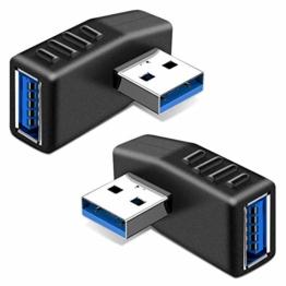 KIMILAR 2-tlg USB 3,0 Adapter rechtwinklig und linken Winkel-Stecker/Buchse USB Winkelstecker Connector-Extender Stecker Kupplung 2ST (einschließlich der linken und rechten Winkel-Adapter) - 1