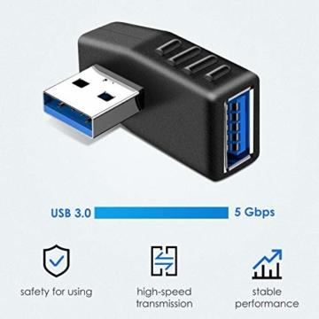 KIMILAR 2-tlg USB 3,0 Adapter rechtwinklig und linken Winkel-Stecker/Buchse USB Winkelstecker Connector-Extender Stecker Kupplung 2ST (einschließlich der linken und rechten Winkel-Adapter) - 4