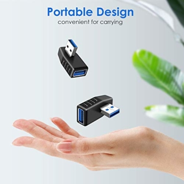 KIMILAR 2-tlg USB 3,0 Adapter rechtwinklig und linken Winkel-Stecker/Buchse USB Winkelstecker Connector-Extender Stecker Kupplung 2ST (einschließlich der linken und rechten Winkel-Adapter) - 5